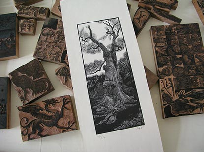 woodcut print and blocks