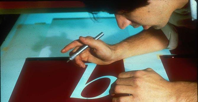 David Berlow cutting Rubylith