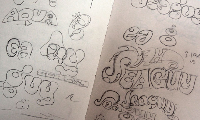 Sketches for one of Rian's logo designs.