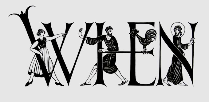 Historiated lettering from a wood engraving by Gill
