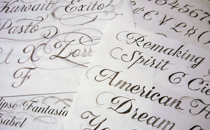 Sketches for Corradine?s latest script font, Quarzo
