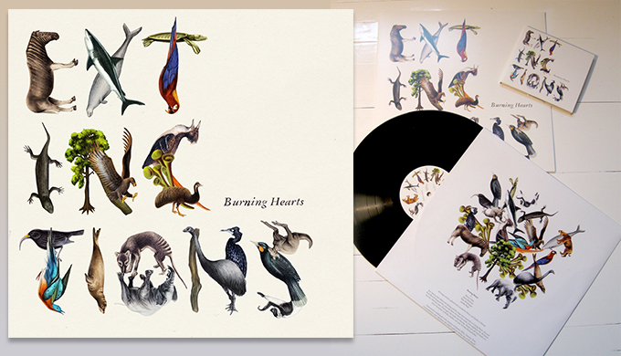 Emil and Kea Bertell's artwork for Extinctions by Finnish band Burning Hearts