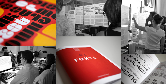 Font graphics and specimen booklets, and the team in their studio