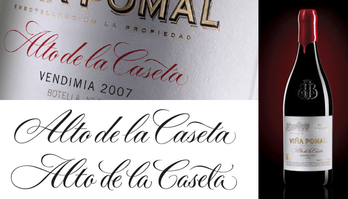 Custom lettering for a wine bottle label