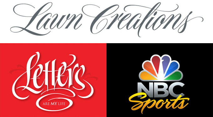 Three of Borges' custom lettering projects