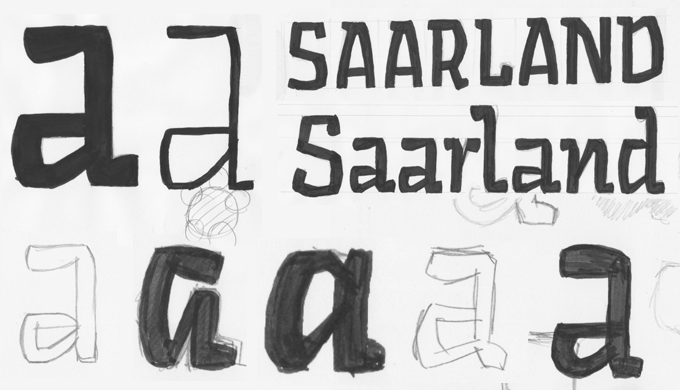 Development sketches for the Sarre typeface, which began life as a corporate commission for the Saarland region