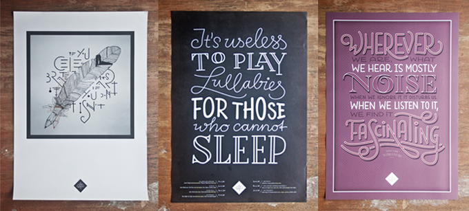 A selection of hand lettered posters by Sascha Timplan