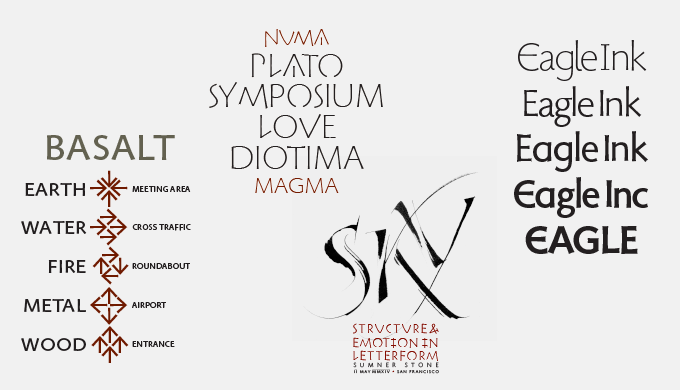 A selection of specimens of typefaces that belong to the uniquely structured Magma superfamily