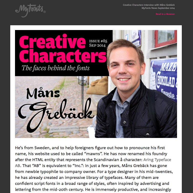 Creative Characters interview with MŒns GrebŠck