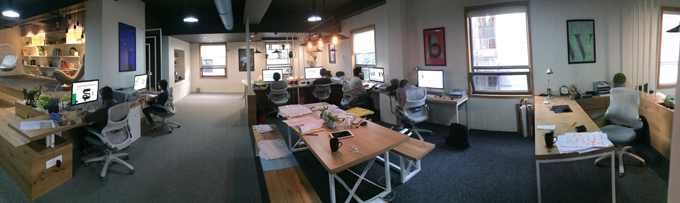 A panorama image of the Indian Type Foundry's office space.
