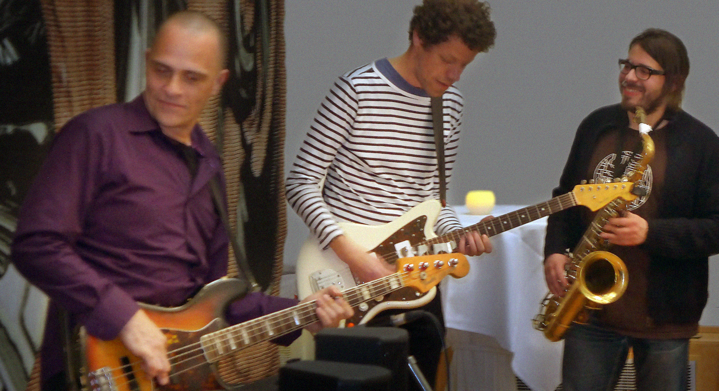 The Wolfraam band in action at the launch of Jan Middendorp's book Dutch Type
