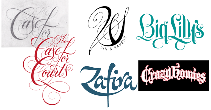 A selection of Meeks' hand lettered logos