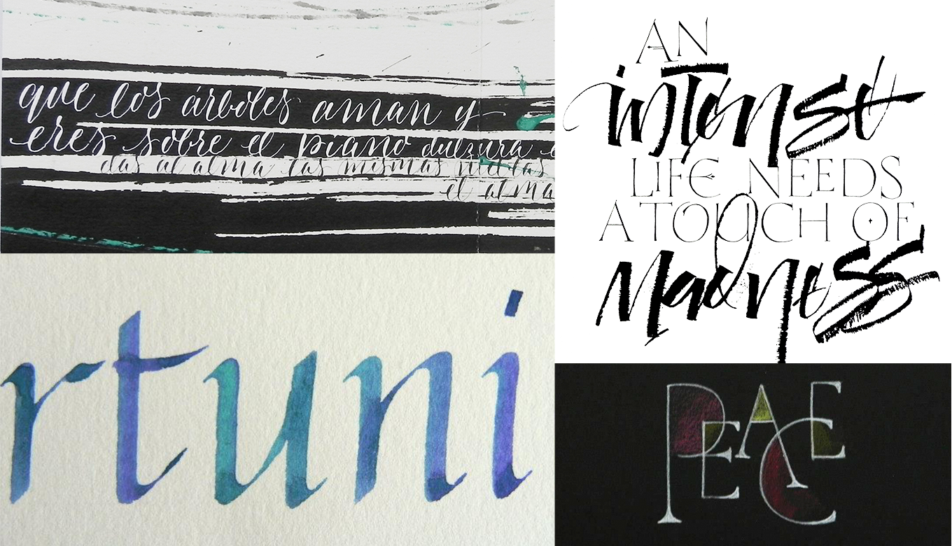 A handful of Lopezs calligraphic projects, *clockwise from top left*: A book of illustrative calligraphic lettering; A Paulo Coelho quote drawn with a ruling pen; lettering created at a Roman Capitals workshop; Cancelleresca calligraphy.