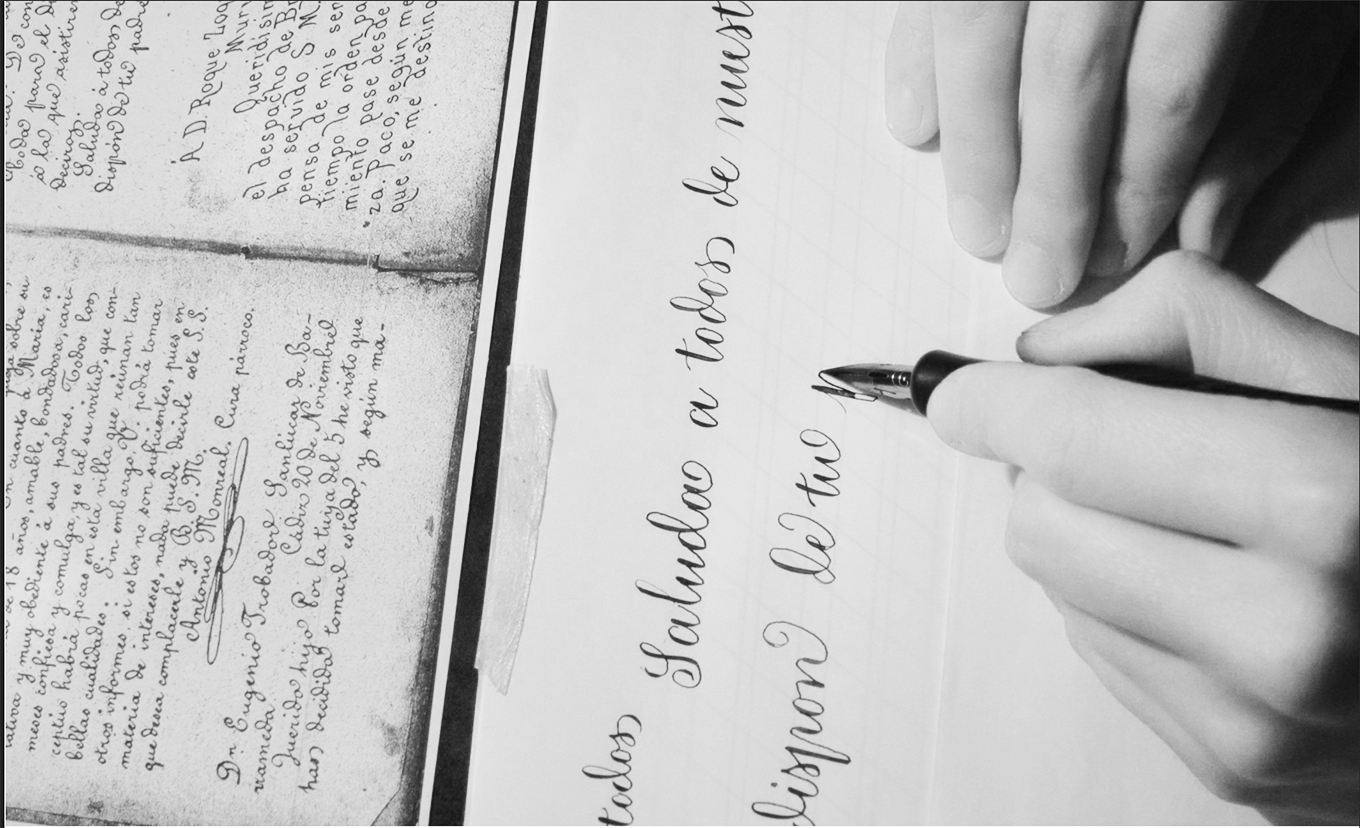 A comfortable writing position for Lopez using her left hand.
