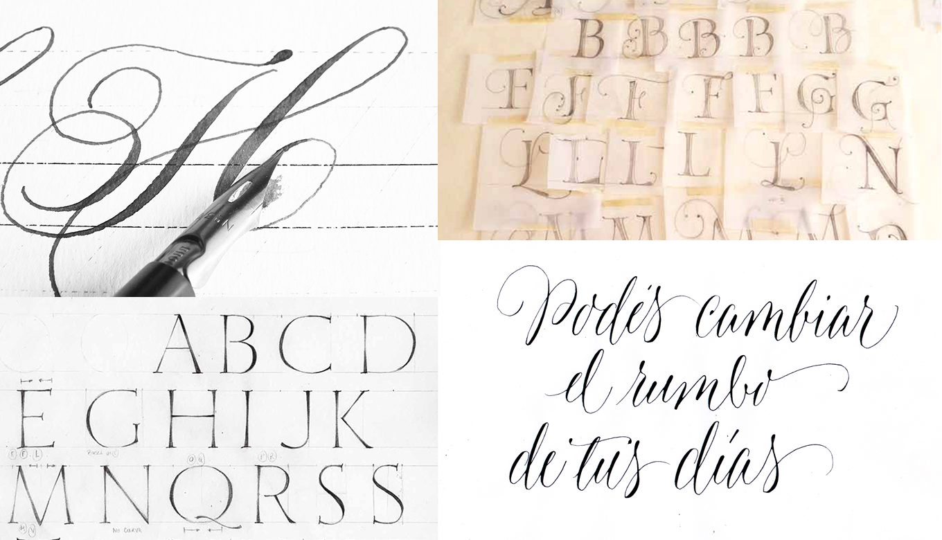 Development sketches for (*clockwise from top left*) Parfumerie Script, Fantasy, Blend Script and Wishes Capitals