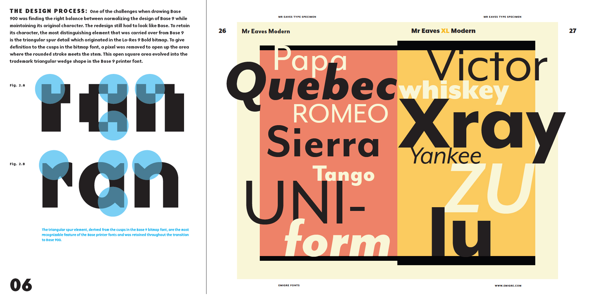Spreads from Emigres new book of type specimens