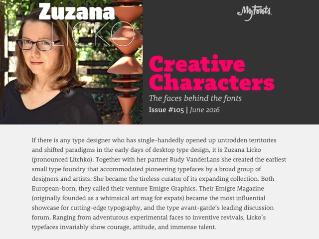 Creative Characters Interview with Zuzana Licko Zuzana Licko