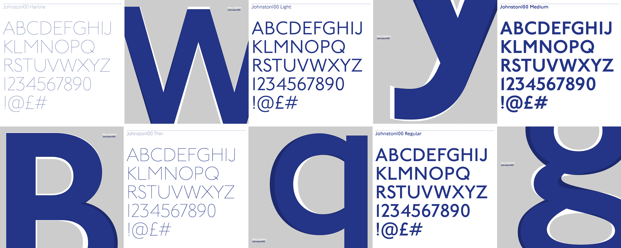 Pages from the Johnston100 typeface specimen