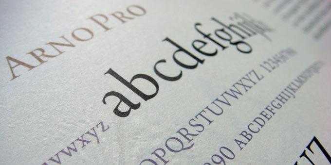Arno Pro font specimen