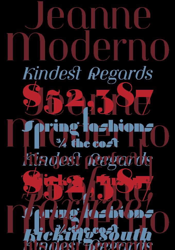 Jeanne Moderno font sample