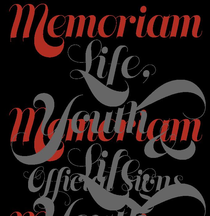 Memoriam font sample