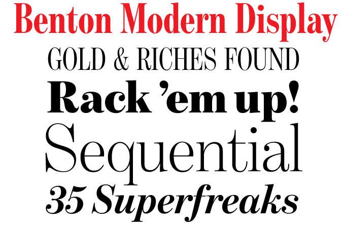Benton Modern Display font sample