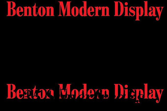 Benton Modern Display font sample