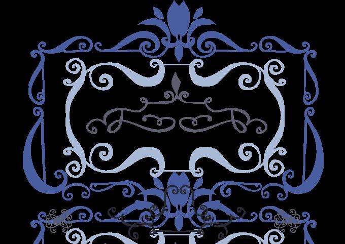 Blue Goblet Frames and Vignettes font sample