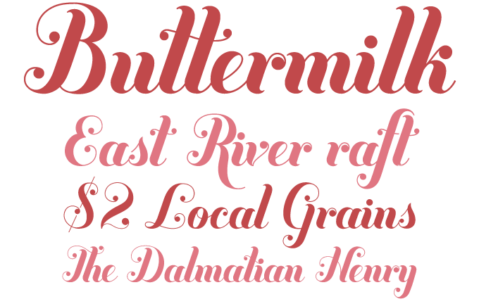 Buttermilk font sample