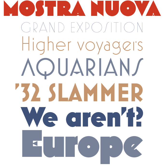Mostra Nuova font sample