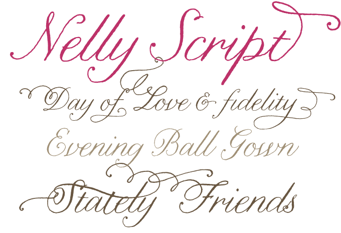 fancy lettering fonts. Nelly Script font sample
