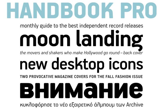 Handbook Pro font sample