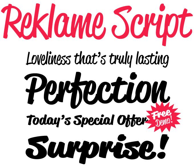 Reklame Script font sample