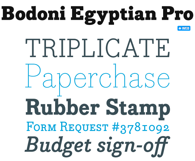 Bodoni Egyptian font sample