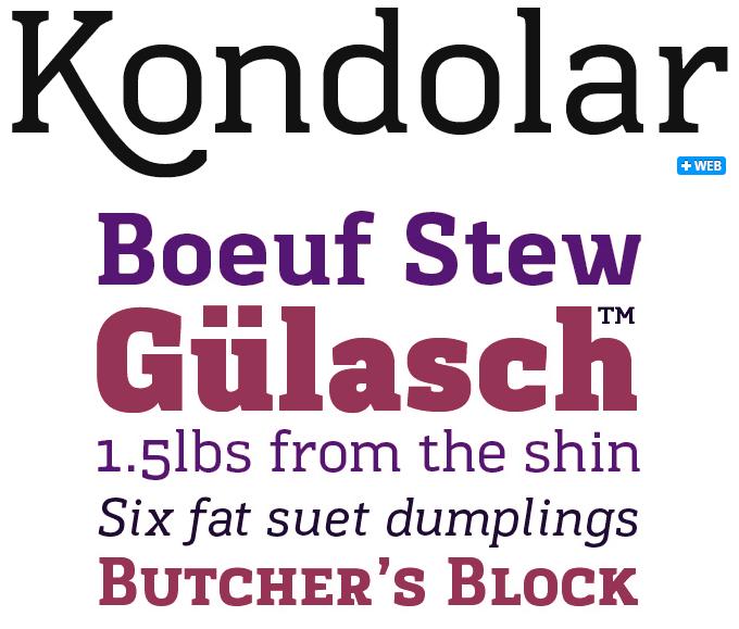 Kondolar font sample