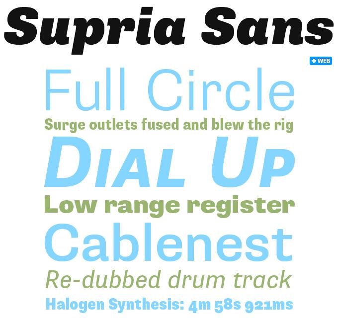 Supria Sans font sample