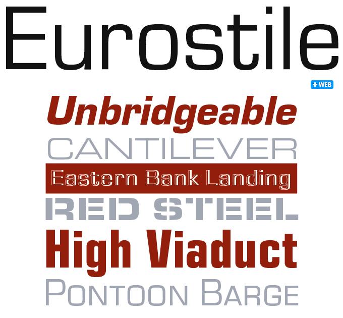Eurostile font sample