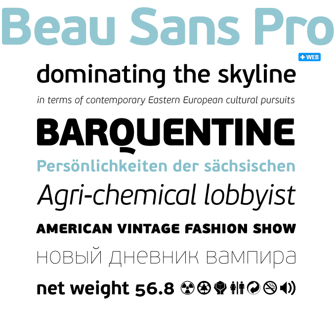 Beau Sans Pro font sample