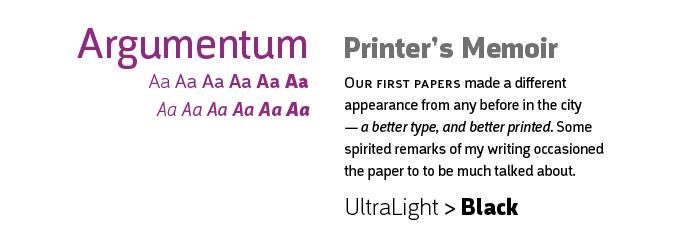 Argumentum font sample