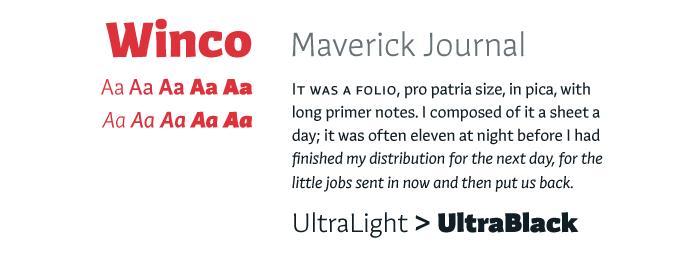 Winco font sample