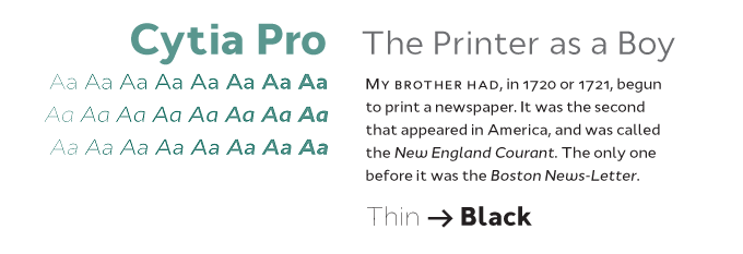Cytia Pro font sample