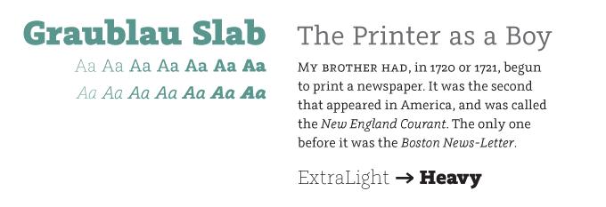 Graublau Slab font sample