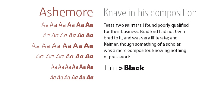 Ashemore font sample