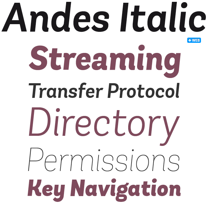 Andes Italic font sample