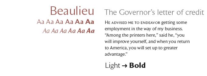 Beaulieu font sample
