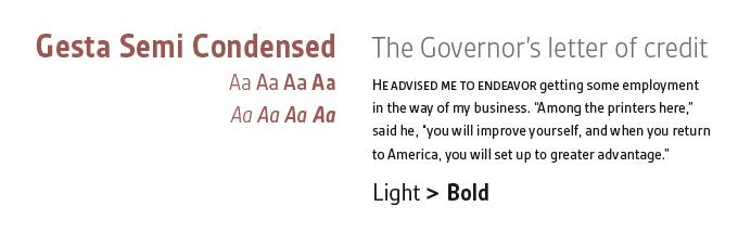 Gesta Semi Condensed font sample