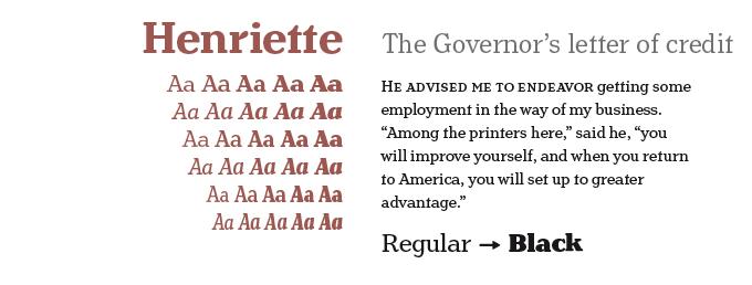 Henriette font sample