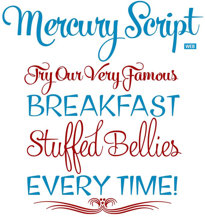 Mercury Script font sample
