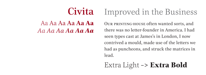 Civita font sample