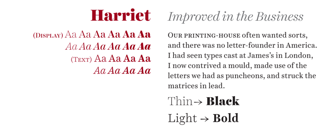 Harriet font sample